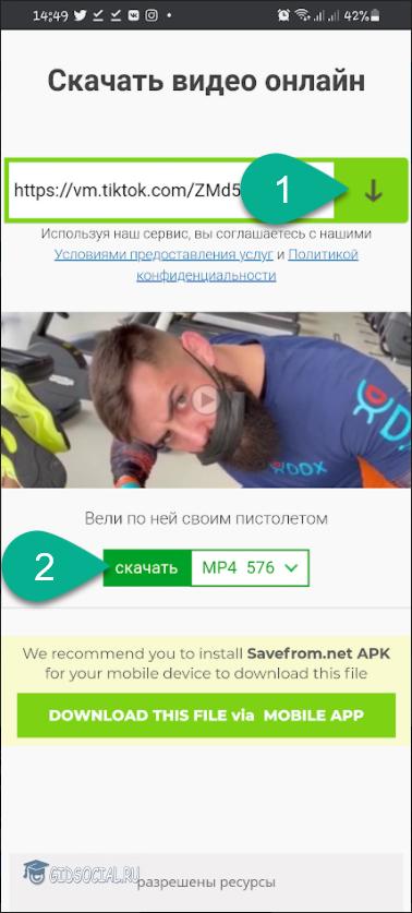 Кнопка загрузки видео по ссылке из TikTok