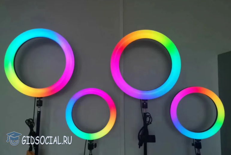 Цветные кольцевые лампы